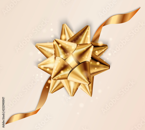 Realistic beautiful gold bow isolated on transparent background Canvas Print