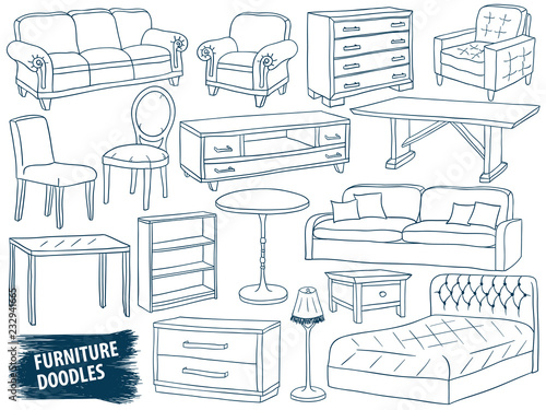 Furniture Doodles Set Interior Design Home Collection Sketch
