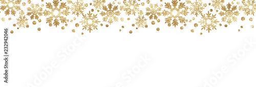 Fototapeta Golden glitter snowflake borders obraz