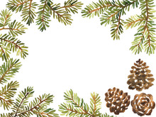 Watercolor Frame Arrangement With Spruce And Pine Cones. Christmas And New Year Decoration