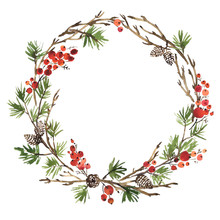 Watercolor Christmas Wreath Of...