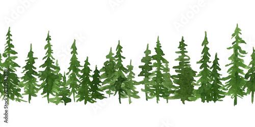 Fotografija  Watercolor green pine trees
