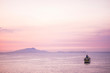 canvas print picture - Touristic cruise boat in the middle of a quiet sea after the sunset with a pink coloured nice sky for all the people wander to travel and enjoy the vacation away home