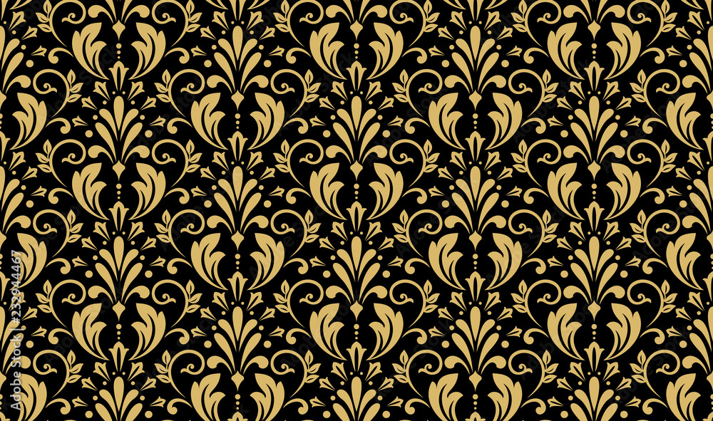 Fototapeta Wallpaper in the style of Baroque. Seamless vector background. Black and gold floral ornament. Graphic pattern for fabric, wallpaper, packaging. Ornate Damask flower ornament