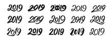 Happy New Year 2019. Set Of Ca...