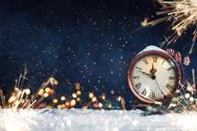 New Year's Clock. Decorated With Balls, Star And Tree On Snow
