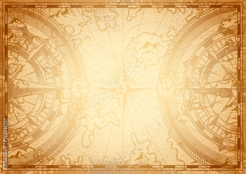 In de dag Schip Old nautical map light template