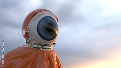 human eye in a protective suit Fotobehang