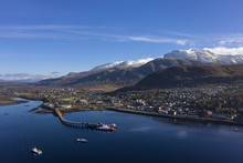 Aerial View Of Fort William Pier, Town And Ben Nevis Mountain