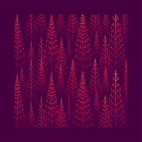 Pine tree forest illustration - 232949254