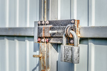 Closed Padlock That Hangs On A...