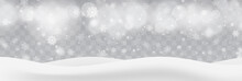 Heavy Snowfall, Snowflakes In Different Shapes And Forms, Vector Illustration. White Cold Flake Elements Isolated On Transparent Background, Bokeh, Defocused Lights. White Realistic Snow Layers.