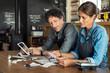 canvas print picture - Staff calculating restaurant bill