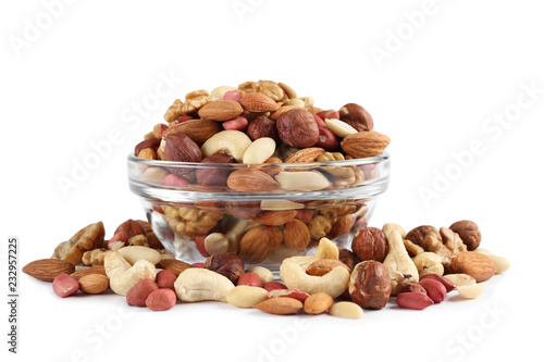 Cuadros en Lienzo bowl with different mixed nuts isolated on white background