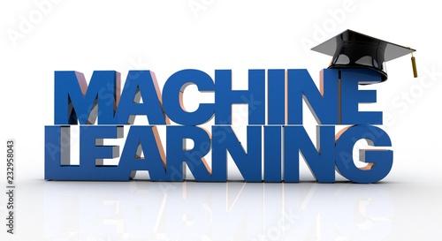 Fotografie, Obraz  3D illustration of Machine learning text wearing a graduation hat