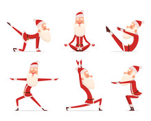 Santa Yoga Relax. Winter Cute Healthy Christmas Holiday Santa Claus Outdoor Doing Sport Yoga Exercises Vector Characters. Claus Yoga To Christmas And New Year Illustration