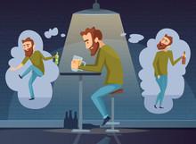 Alcoholism Concept. Addicted Man Alcoholic Dark Depression Drinking Alcohol Vodka Beer Whiskey Social Vector Placard Background. Illustration Of Man Alcoholism, Sad Alone Person, Depressed Problem