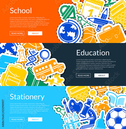 Vector Back To School Stationery Web Banner Templates Illustration Education Banner Back School Stationery Tools And Microscope Buy This Stock Vector And Explore Similar Vectors At Adobe Stock Adobe Stock