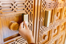 Hand Open A Beautiful Hand Carved Wooden Door