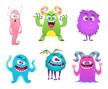 Monsters Mascot. Furry Cute Gr...