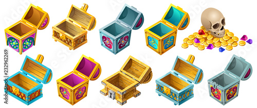 Set cartoon wooden isometric open chests decorated silver for computer game Canvas Print