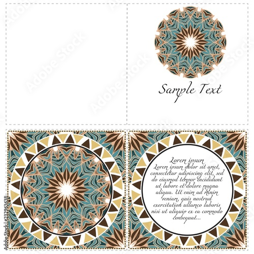 Fotografie, Obraz  Design Vintage cards with Floral mandala pattern and ornaments