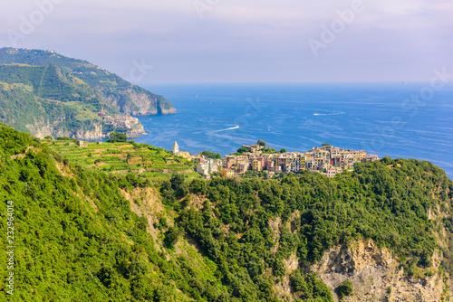 In de dag Canarische Eilanden Corniglia - Village of Cinque Terre National Park at Coast of Italy. In the background you can see Manarola. Province of La Spezia, Liguria, in the north of Italy - Travel destination in Europe.