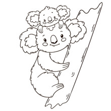 Cute Koala Mother And Baby. Black And White Outline Illustration. Coloring Book Page.