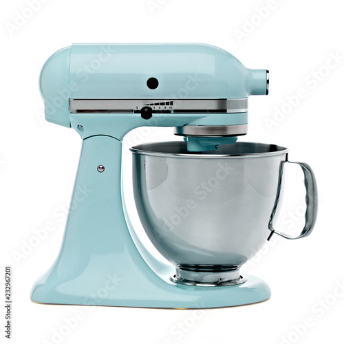 Photo Blue Stand or kitchen Mixer With Clipping Path Isolated On White Background