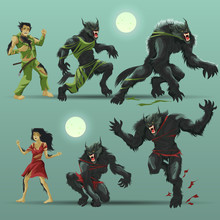 Man And Woman Turning Into Werewolf Set