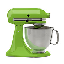 Green Stand Or Kitchen Mixer With Clipping Path Isolated On White Background