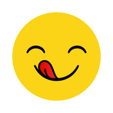 Yummy Emoticon With Happy Smil...