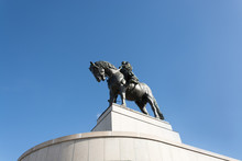 Monument To Jan Zizkov In Prague, Czech Republic, On A Clear Summer Day, Depicting A Statue Of A Strong Medieval Warrior On A Horse