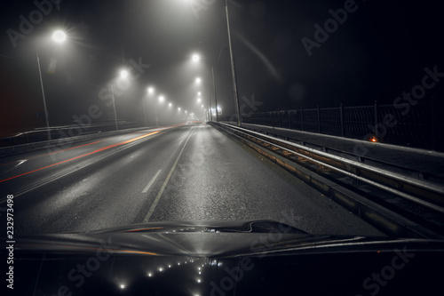 Foto op Plexiglas Nacht snelweg night and the city lights and road