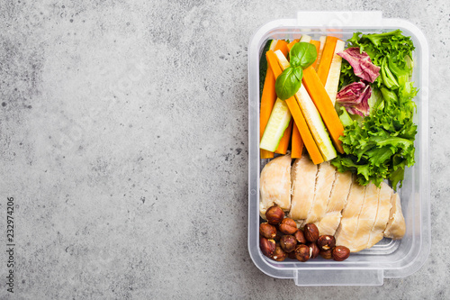 Deurstickers Assortiment Lunch box with healthy food