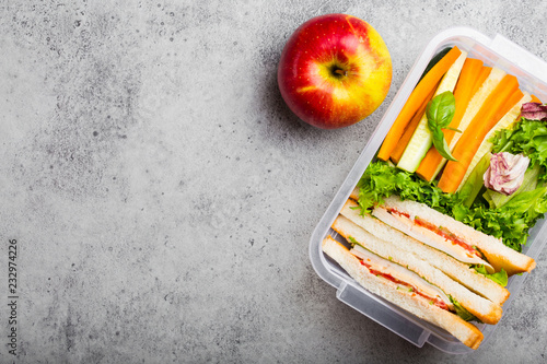 Poster Assortiment Lunch box with healthy food