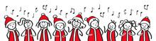 Weihnachtschor, Sternsinger, Chor, Weihnachtliche Gesangsgruppe, Banner, Lustige Strichfiguren Singen Weihnachtslieder