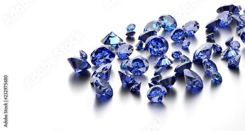 Foto  Blue diamonds placed on white background, 3D illustration.