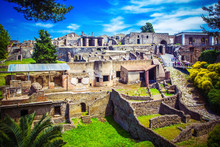 Panoramic View Of Ancient City Of Pompeii With Houses And Streets. Pompei Is Ancient Roman City Died From Eruption Of Mount Vesuvius In 1st Century, Naples, Italy.