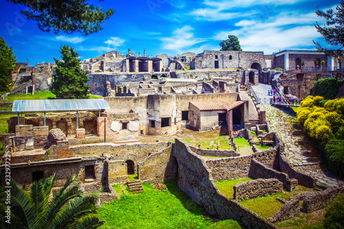 Foto op Plexiglas Napels Panoramic view of ancient city of Pompeii with houses and streets. Pompei is ancient Roman city died from eruption of Mount Vesuvius in 1st century, Naples, Italy.