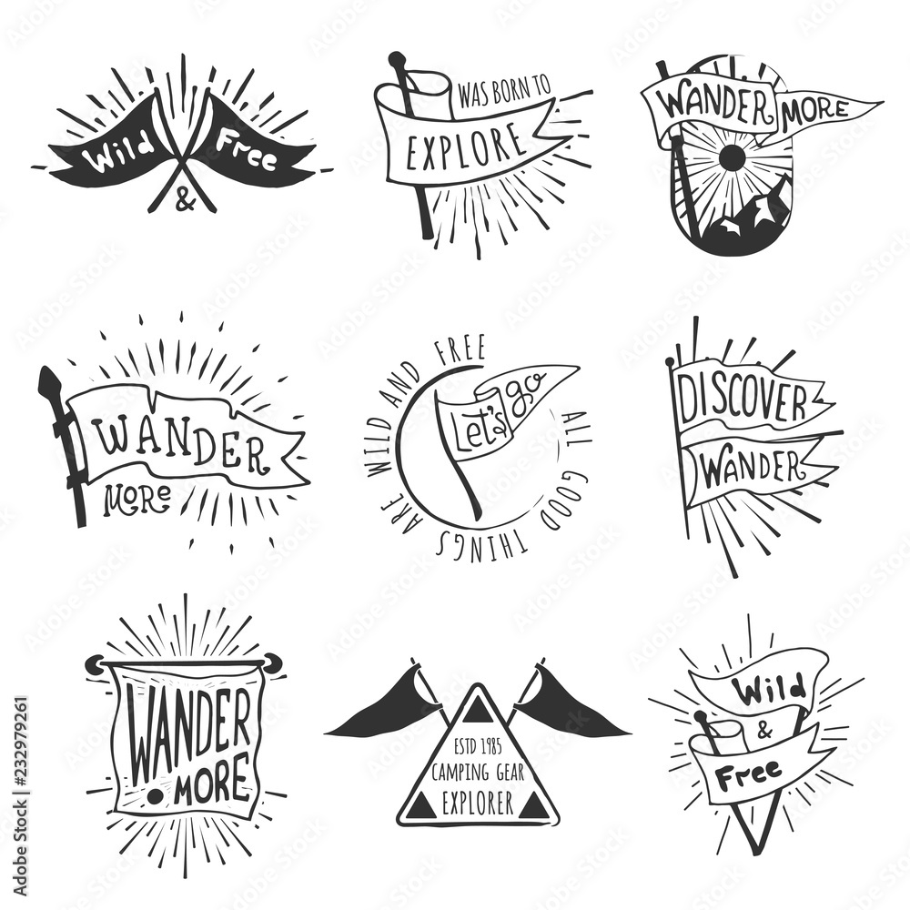 Fototapety, obrazy: Set of adventure and outdoors flag emblems. Retro monochrome labels with light rays. Hand drawn wanderlust style. Pennant travel flags design. Logo templates