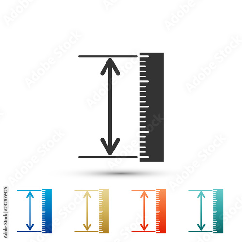The measuring height and length icon isolated on white background. Ruler, straightedge, scale symbol. Geometrical instruments. Set elements in colored icons. Flat design. Vector Illustration