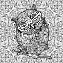 Owl With Glasses Coloring Page Or Book Cover. Vector Poster Design With Bird And Antistress Monochrome Hand-Drawn Seamless Pattern On Background For Valentines Day Cards