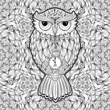 Owl Coloring Page Or Book Cover. Vector Poster Design Or Tattoo With Bird And Antistress Multicolored Kaleidoscope Seamless Pattern On Background For Valentines Day Cards And Hand-drawn Ornaments