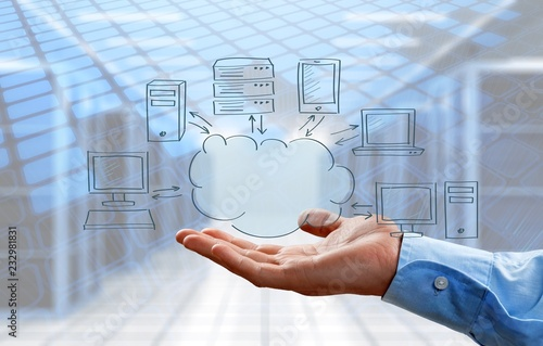 Businessman and cloud computing, technology connectivity