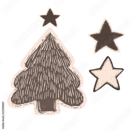 Scandi Christmas Tree Drawing.Linocut Christmas Tree Illustration Set Hand Carved Cute