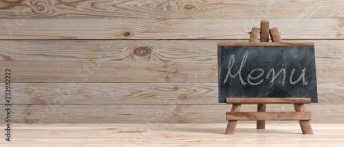Stampa su Tela Blackboard on wooden easel, copy space, menu inscription, wooden background, 3d illustration, banner