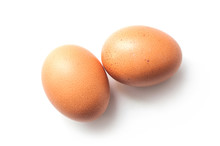 Closeup Of Two Organic Eggs On...