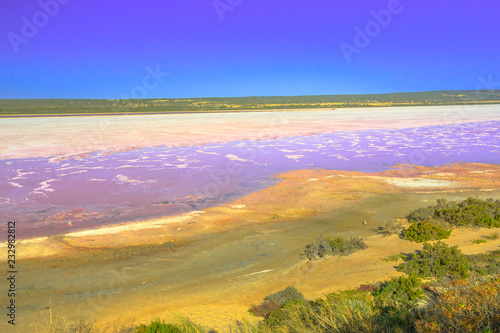 Foto op Aluminium Oceanië Aerial view from Pink Lake lookout of Salt Lake in Port Gregory, Western Australia. Hutt Lagoon is pink color for the presence of algae. Popular attraction in Australia. Copy space.