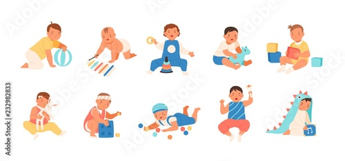 Photo Collection of happy adorable babies playing with various toys - building kit, ball, rattle